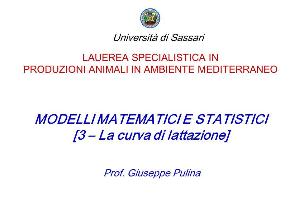 MODELLI MATEMATICI E STATISTICI [3 – La curva di lattazione]